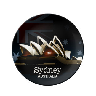 Sydney opera house at night plate