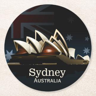 Sydney opera house at night round paper coaster