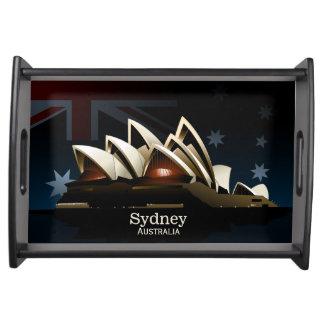 Sydney opera house at night serving tray