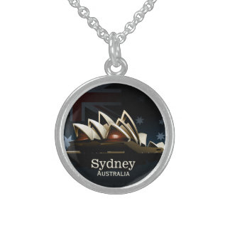 Sydney opera house at night sterling silver necklace