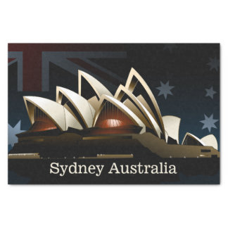 Sydney opera house at night tissue paper