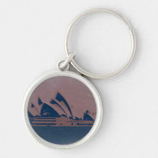 Sydney Opera House Silver-Colored Round Keychain