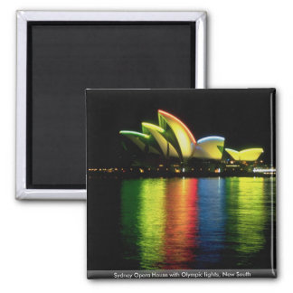 Sydney Opera House with Olympic lights, New South Square Magnet