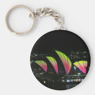 sydney opera vivid basic round button keychain