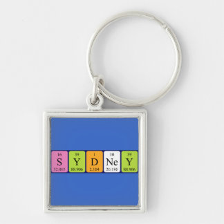 Sydney periodic table name keyring Silver-Colored square keychain