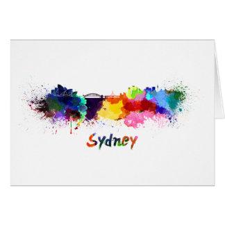 Sydney skyline in watercolor card