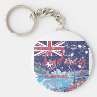 sydney vintage australia basic round button keychain