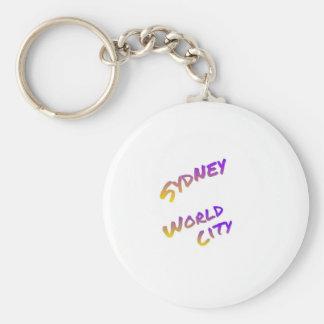 Sydney world city,  colorful text art basic round button keychain
