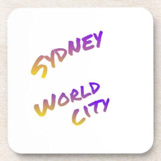 Sydney world city,  colorful text art beverage coasters