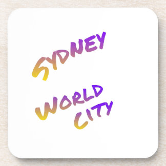 Sydney world city,  colorful text art coaster