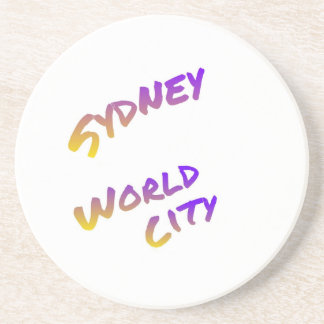 Sydney world city,  colorful text art drink coasters