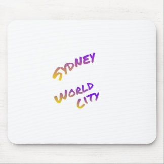 Sydney world city,  colorful text art mouse pad