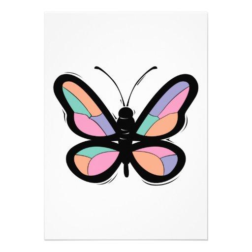 sylized pastel butterfly invitation