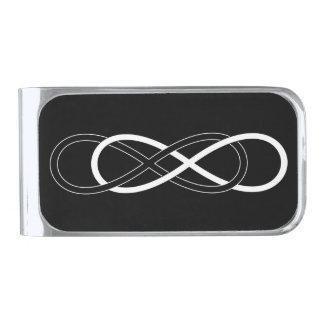 Symbol double Infinity - Black & White Silver Finish Money Clip