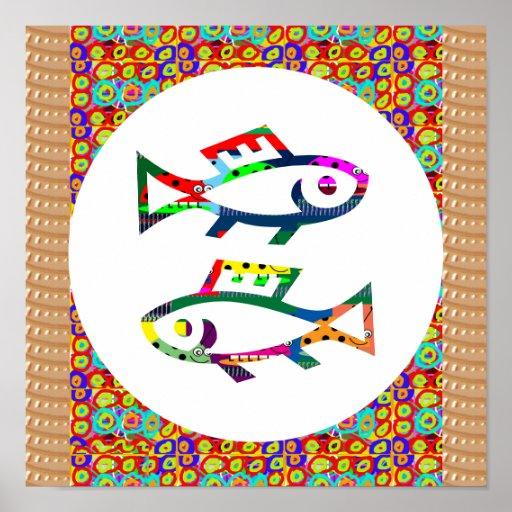 Symbol Fish poisson pêcheurs Aquatic Zoo Aquarium Posters