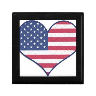 Symbol Heart Love Usa United States Flag Stars Gift Box