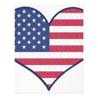Symbol Heart Love Usa United States Flag Stars Letterhead