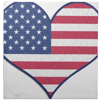 Symbol Heart Love Usa United States Flag Stars Napkin