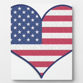 Symbol Heart Love Usa United States Flag Stars Plaque
