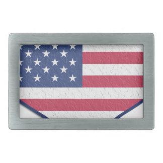 Symbol Heart Love Usa United States Flag Stars Rectangular Belt Buckles
