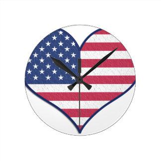 Symbol Heart Love Usa United States Flag Stars Round Clock