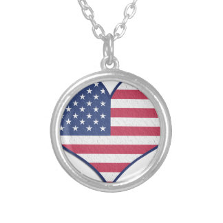 Symbol Heart Love Usa United States Flag Stars Silver Plated Necklace