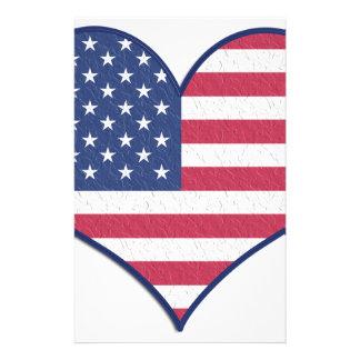 Symbol Heart Love Usa United States Flag Stars Stationery
