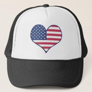 Symbol Heart Love Usa United States Flag Stars Trucker Hat