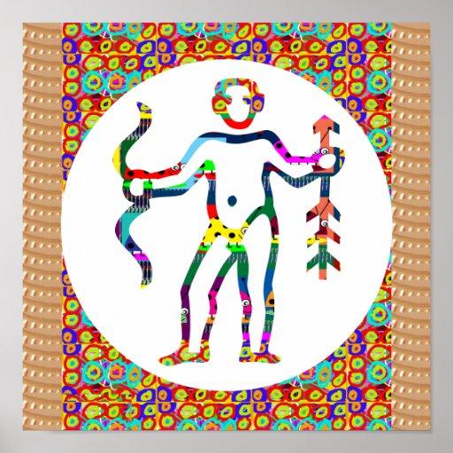 Symbol Hunter Bow Arrow Native Lifestyle Ethnic Poster