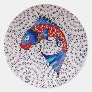 Symbol of Fortune Good Luck Koi Fish Classic Round Sticker