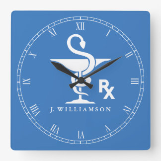 Symbol of Pharmacology Bowl of Hygenia Symbol Square Wall Clock