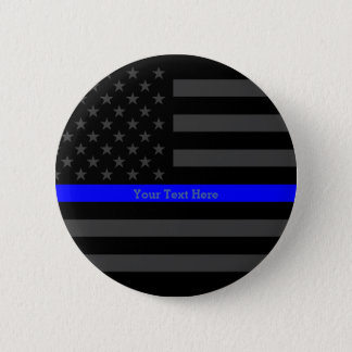 Symbol Thin Blue Line Personalized Black US Flag 2 Inch Round Button