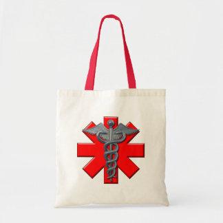 Symbole argenté de corps médical sac en toile budget