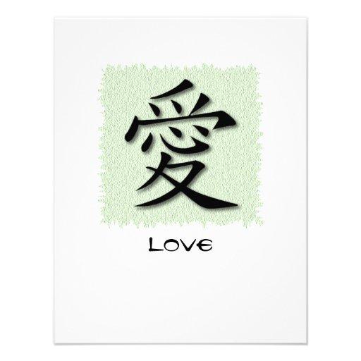 Symbole chinois d'invitations pour l'amour sur le