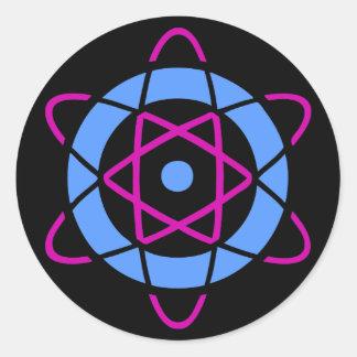 Symbole d'atome de geek de Sci fi Sticker Rond