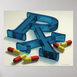 symbole de 3D RX avec des capsules Poster