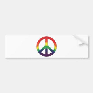 Symbole de paix dans des couleurs d'arc-en-ciel autocollant de voiture