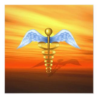 Symbole médical de caducée invitation personnalisée
