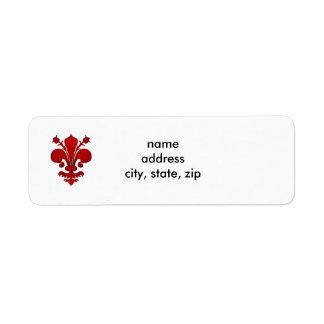 Symbole rouge foncé de fleur de lis étiquettes d'adresse retour