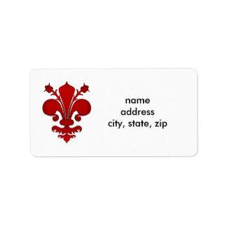 Symbole rouge foncé de fleur de lis étiquette d'adresse