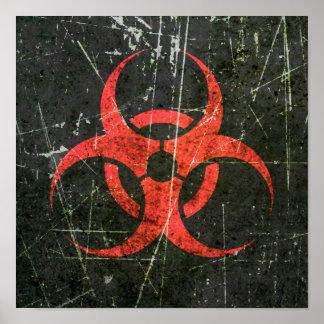 Symbole rouge rayé et porté de Biohazard Poster