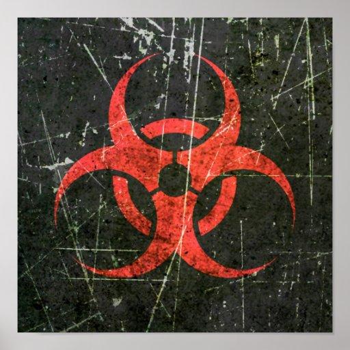 Symbole rouge rayé et porté de Biohazard Affiches