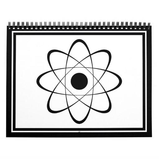 Symbole stylisé d'atome calendrier