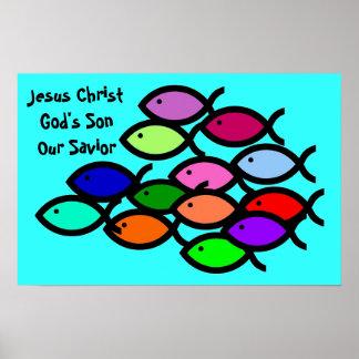 Symboles chrétiens de poissons - école d'arc-en-ci posters