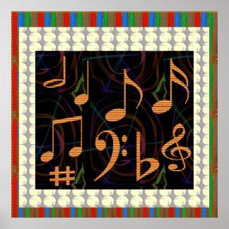 Symboles de musique de feuille de danse poster