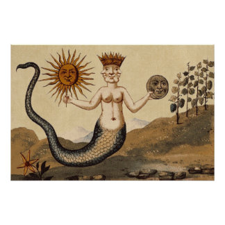 Symbolic Alchemy with Sun and Moon Sepia Poster