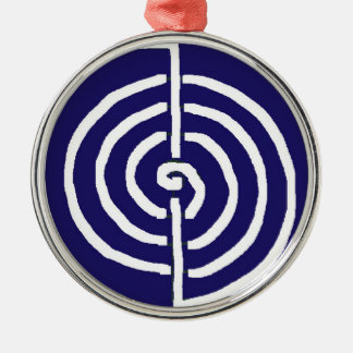 Symbolic Art : Reiki Chokurai Silver-Colored Round Ornament