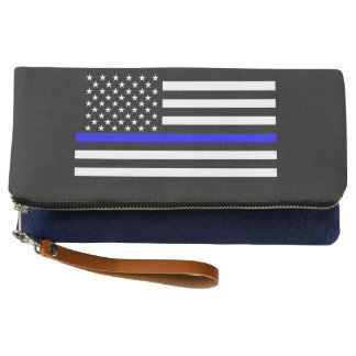 Symbolic Thin Blue Line American Flag graphic on a Clutch