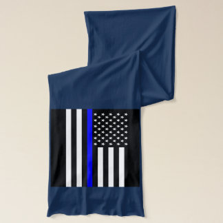 Symbolic Thin Blue Line American Flag graphic on a Scarf