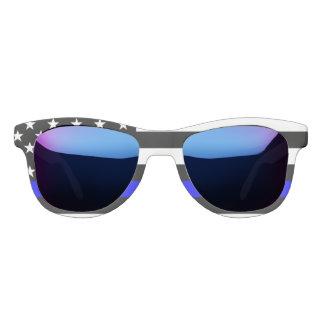 Symbolic Thin Blue Line American Flag graphic on a Sunglasses